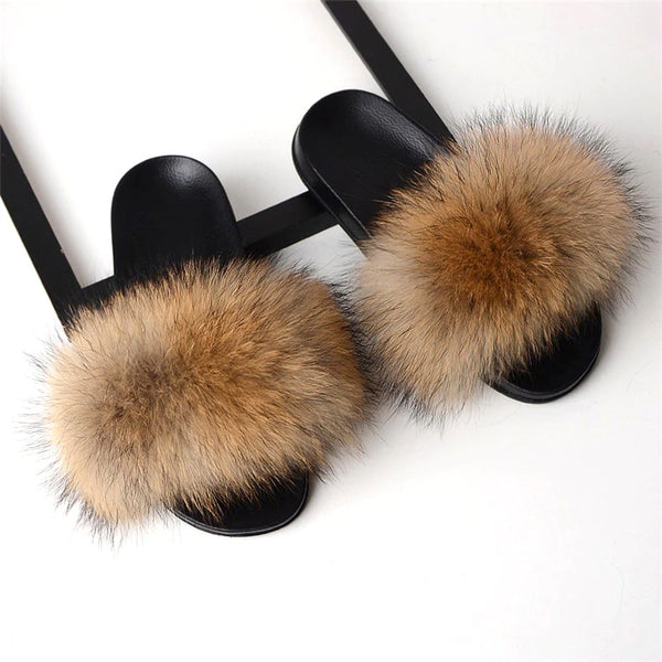 Style 113 Luxury Faux Fur Slippers :: Foxy Tail Brown :: BEST SELLER