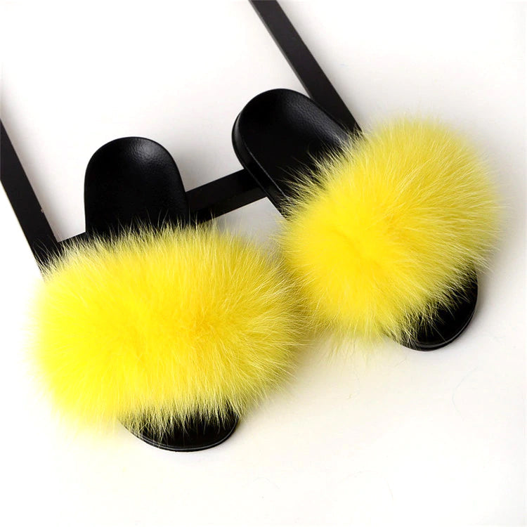Style 113 Luxury Faux Fur Slippers :: Lemon Drop  :: BEST SELLER!