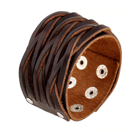 Style 113 - Men's Hand Tooled Stringy Genuine Leather Cuff Bracelet