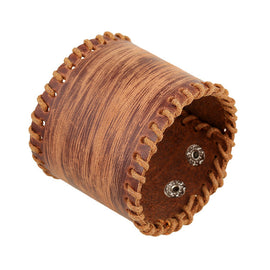 Style 114 - Men's Hand Tooled Scratched Genuine Leather Cuff Bracelet