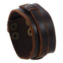 Style 116 - Men's Hand Tooled Snappy Over Strap Genuine Leather Cuff Bracelet