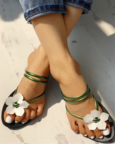 Style 117 Strappy Floral Flip Flops   :: Available in 6 Colors