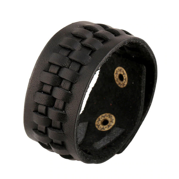 Style 117 - Men's Hand Tooled Geared Together Genuine Leather Cuff Bracelet