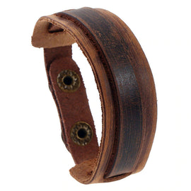 Style 117 - Men's Hand Tooled Thin & Strappy Genuine Leather Cuff Bracelet