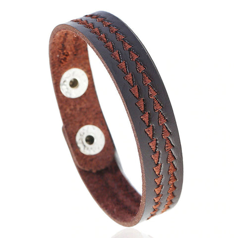 Style 118 - Men's Hand Tooled Weave Together Genuine Leather Cuff Bracelet