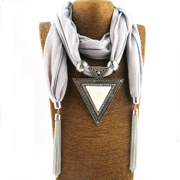 Style 120 Triangle Reflections Silver Tassel Pendant Scarf
