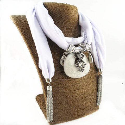 Style 120 Eye of Destiny Cotton Tassel Scarf w/Pendant in White & Silver