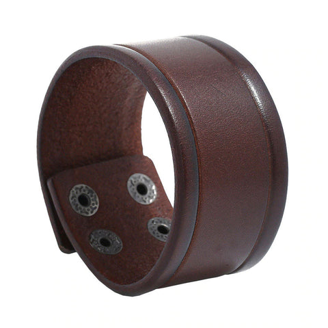 Style 119 - Men's Hand Tooled Wide Genuine Leather Cuff Bracelet