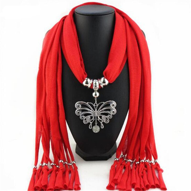 Style 123 Beautiful Butterfly Cotton Pendant Scarf :: Available in 13 Colors