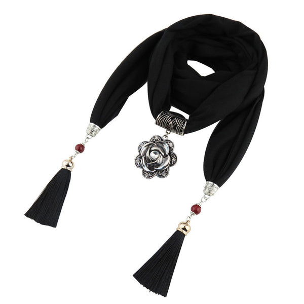 Style 124 Boho Silver Rose Pendant Scarf  :: Available in 6 Colors