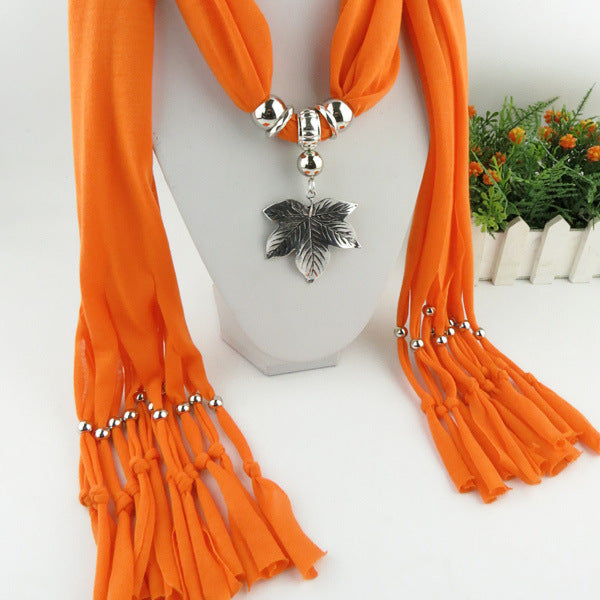 Style 126 Maple Leaf Pendant Scarf :: Available in 18 Colors