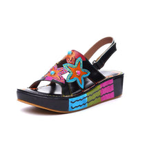 Style 1728 Bohemian Summer Collection - Boho Flower Child Sandals - Black