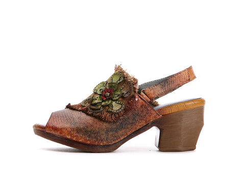Style 1729 Bohemian Summer Collection - Hippie Style Leather Floral Slip On - Available in 2 Colors