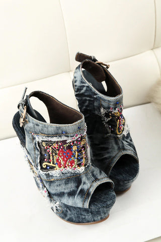 Style 1732 Boho Wedge Heel Beaded Denim Open Toe Bootie