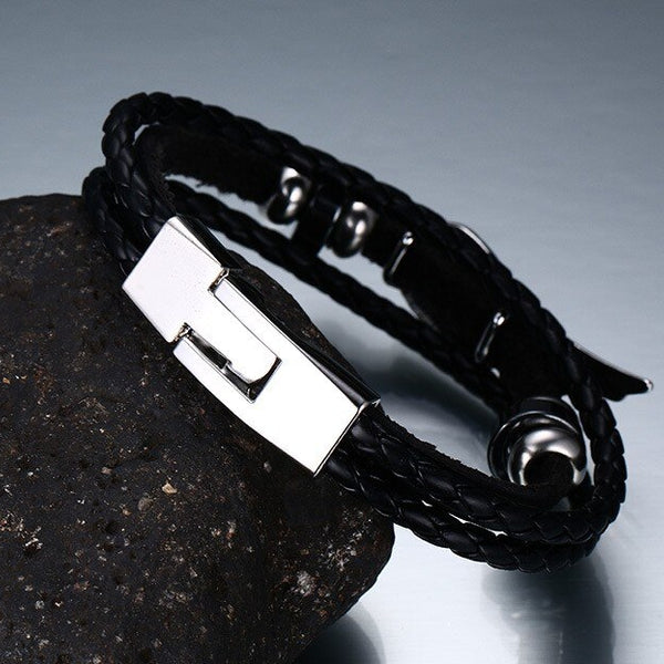 Men's Genuine Leather Angel Wing Bracelet :: Best Seller!