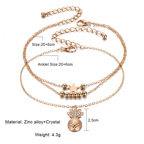 Style 2113 Crystal Pineapple Anklet - Available in 2 Colors