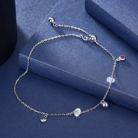 Style 2119 Swarovski Colored Crystal & Silver Balls Anklet