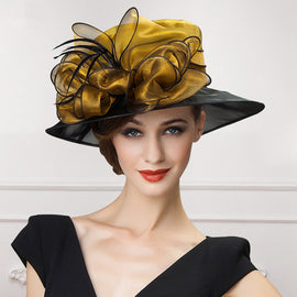 Style 222 Women's Black Organza Fancy Hat - 2 Colors