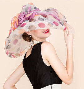 Style 230 Luxury Festive Polka Dots Kentucky Derby Hat