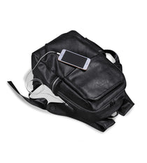 Style 231 Men's Leather Built in USB Charger Backpack