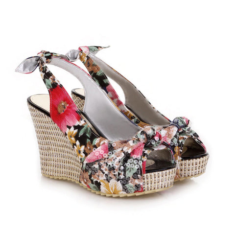 Style 3313 Boho Floral Wedge Heels  :: Available in 2 Colors