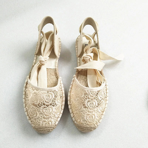 Hemp Rose Pattern Open Lace Up  Espadrilles - Available in 2 Colors