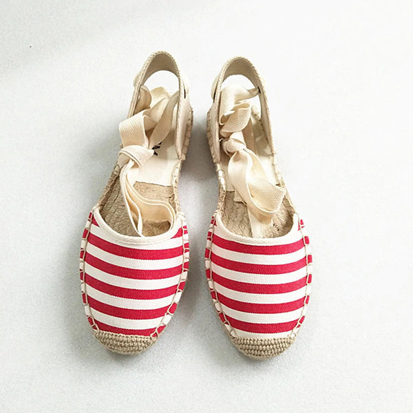 Striped Open Lace Up  Espadrilles - Available in 3 Colors