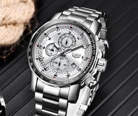 LIGE Men's Dial Date Waterproof Sports Watch - Stainless
