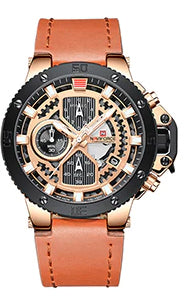 Style 4422 Men's Luxury Military Style Multi-Function Watch w/Leather band