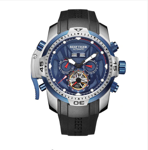 Style 4423 Reef Tiger Men's Luxury Automatic Skeleton Sports/Military Watch