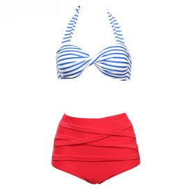 Style 503 Retro Red White Blue Retro High Waist Bikini
