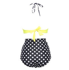 Style 505 Lime Green & Black Polka Dot Retro High Waist Bikini