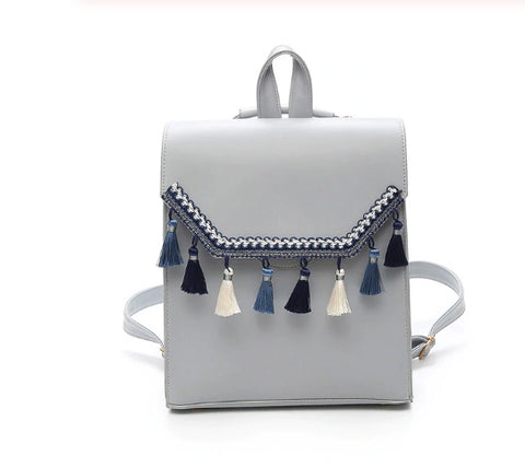 Style 505 Boho Leather Tassel Backpack :: Available in 3 Colors