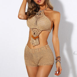 Hand Crafted Beaded Knit Boho Swimsuit Separates  - BEST SELLER