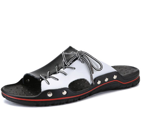 Style 701 Men's Genuine Leather Tie Up Slip On Summer Sandals