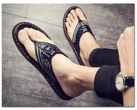 Style 702 Men's Genuine Leather Buckle Flip Flops :: Available in 2 Colors