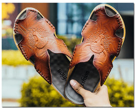 Style 704 Men's Genuine Leather Buffalo Spirit Slip On Sandals :: Available in 3 Colors