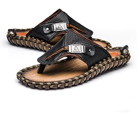 Style 705 Luxury Leather Men's Beach Flip Flops :: Available in 2 Colors
