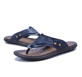 Style 706 Men's Genuine Leather Sports Flip Flops :: Available in 3 Colors
