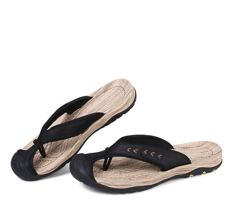 Style 707 Men's Genuine Leather Sports Toe Flip Flops :: Available in 4 Colors