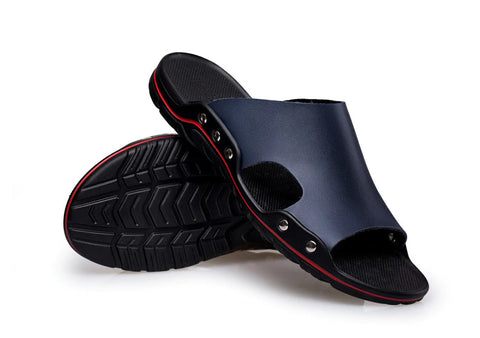 Style 708 Men's Genuine Leather European Style Casual Beach Slip On's :: Available in 4 Colors