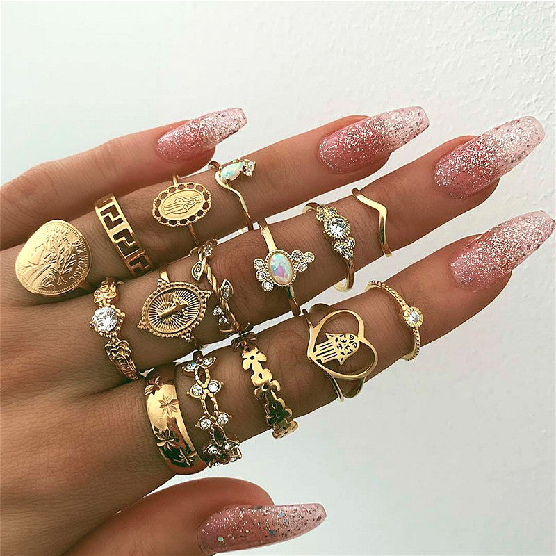 15 Piece Boho CoExist Midi - Ring Set