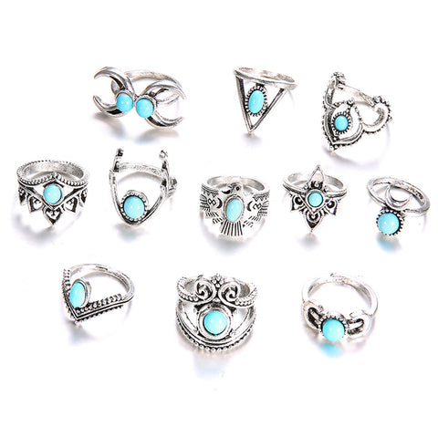 Boho Tribal Turquoise 11 - Piece Boho Midi - Ring Set