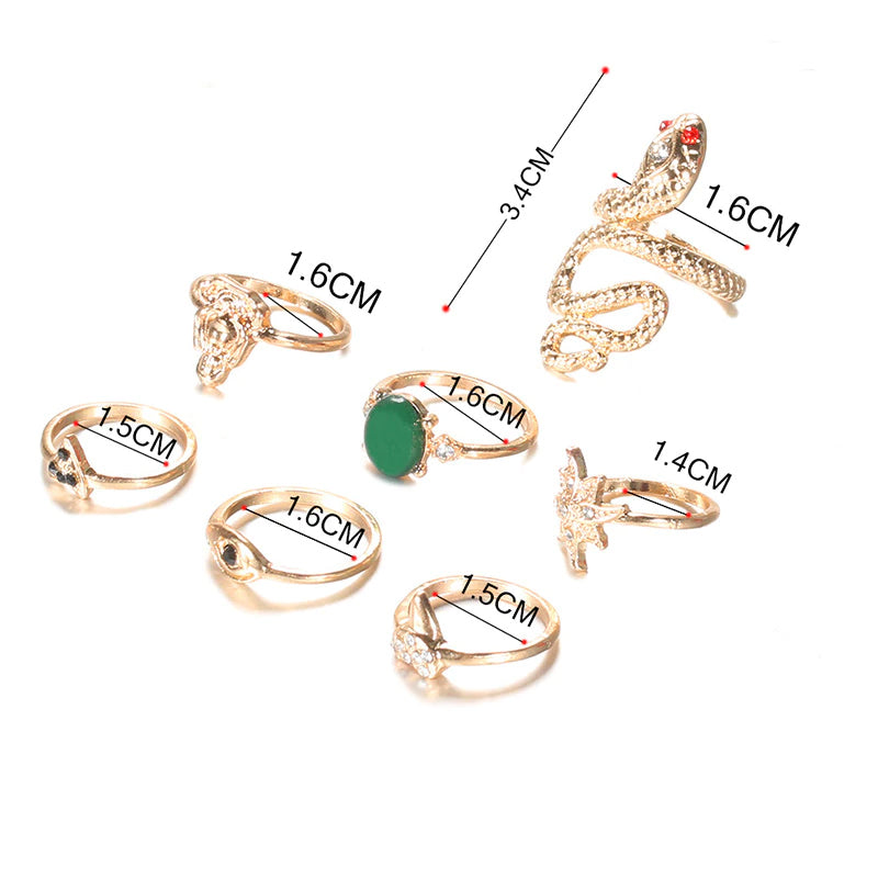 Mystic Snake Midi Ring Set  -  7-Piece Boho Midi  Ring Set -