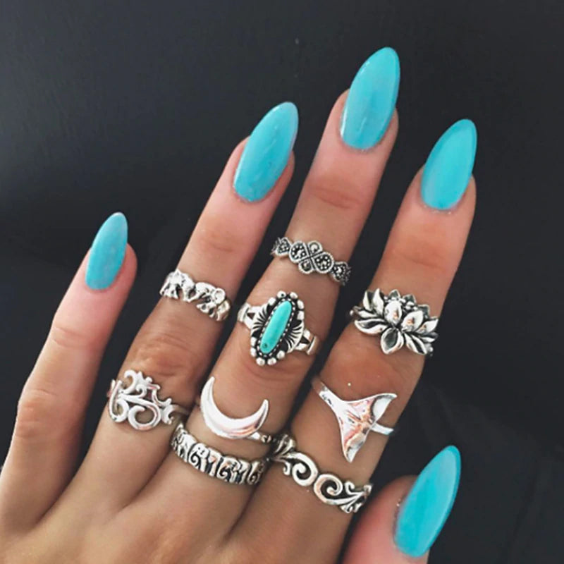 Mystic Turquoise Mermaid   ::  9-Piece Boho Midi  Ring Set -