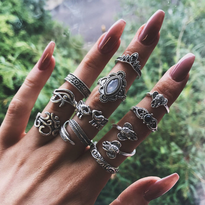 I Dream of India  ::  11-Piece Boho Midi  Ring Set -