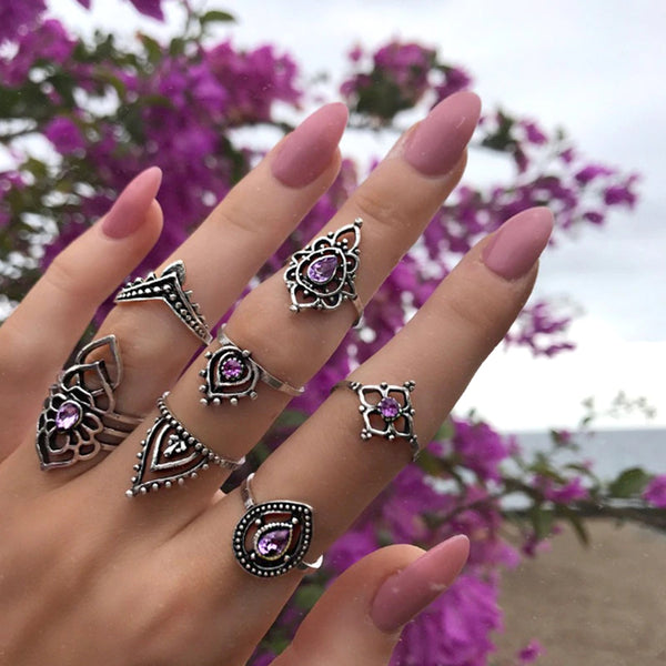 Purple Mandela  ::  7-Piece Boho Midi  Ring Set -