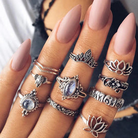 Lotus Moon Love  ::  10-Piece Boho Midi  Ring Set -