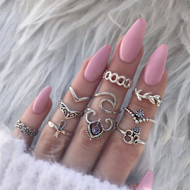 Silver Rah  ::  10-Piece Boho Midi  Ring Set -
