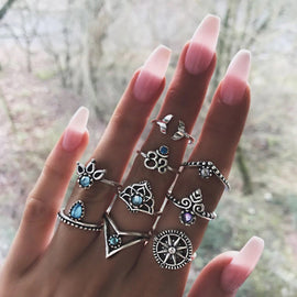 Silver Compass  ::  9 -Piece Boho Midi  Ring Set -